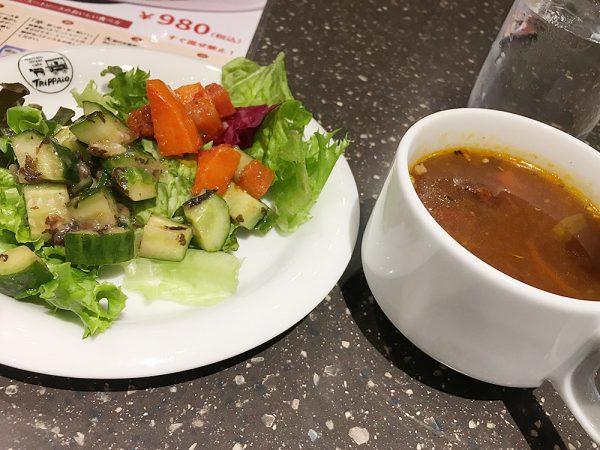 ランチビュッフェメニューのサラダとスープ
